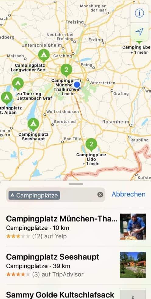AppleMaps Karten Campingplätze