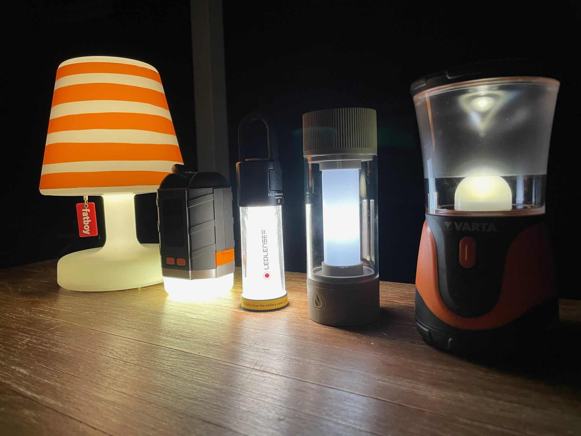 Camping-LED-Lampen-Fatboy-Edison-the-Petit-Lanktoo-Ledlenser-ML6-Fatboy-Tjoepke-Varta