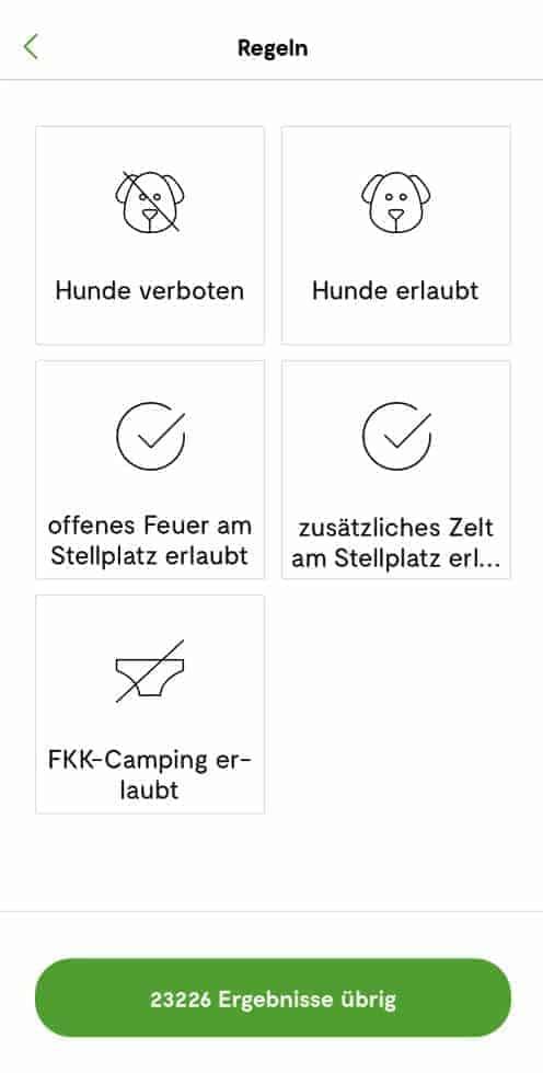 Camping.info Filter Hunde