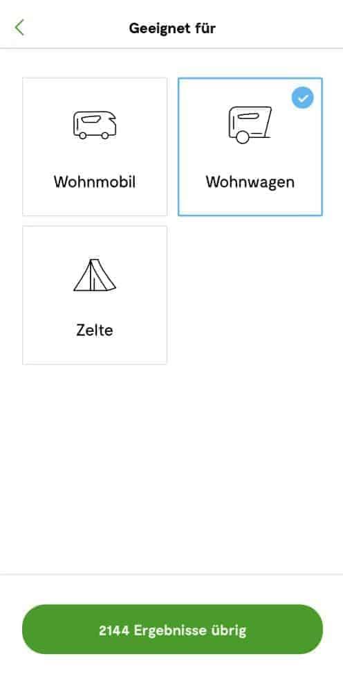 Camping.info Filter Wohnwagen