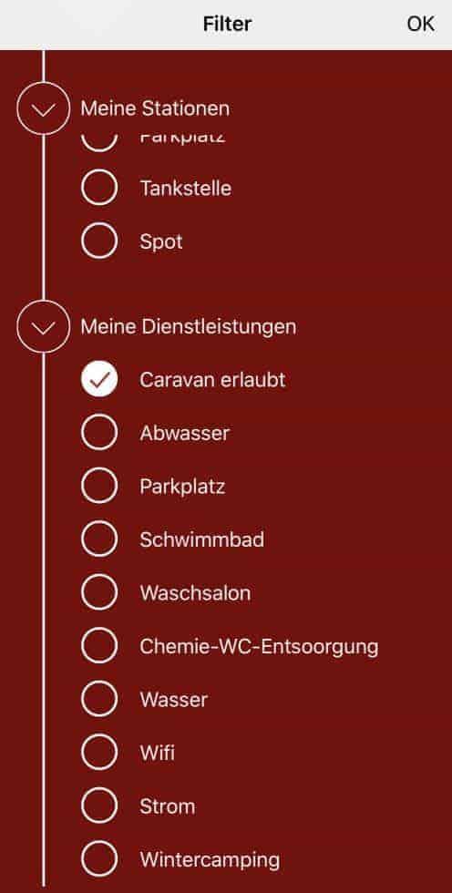 CaraMaps Filter Wohnwagen