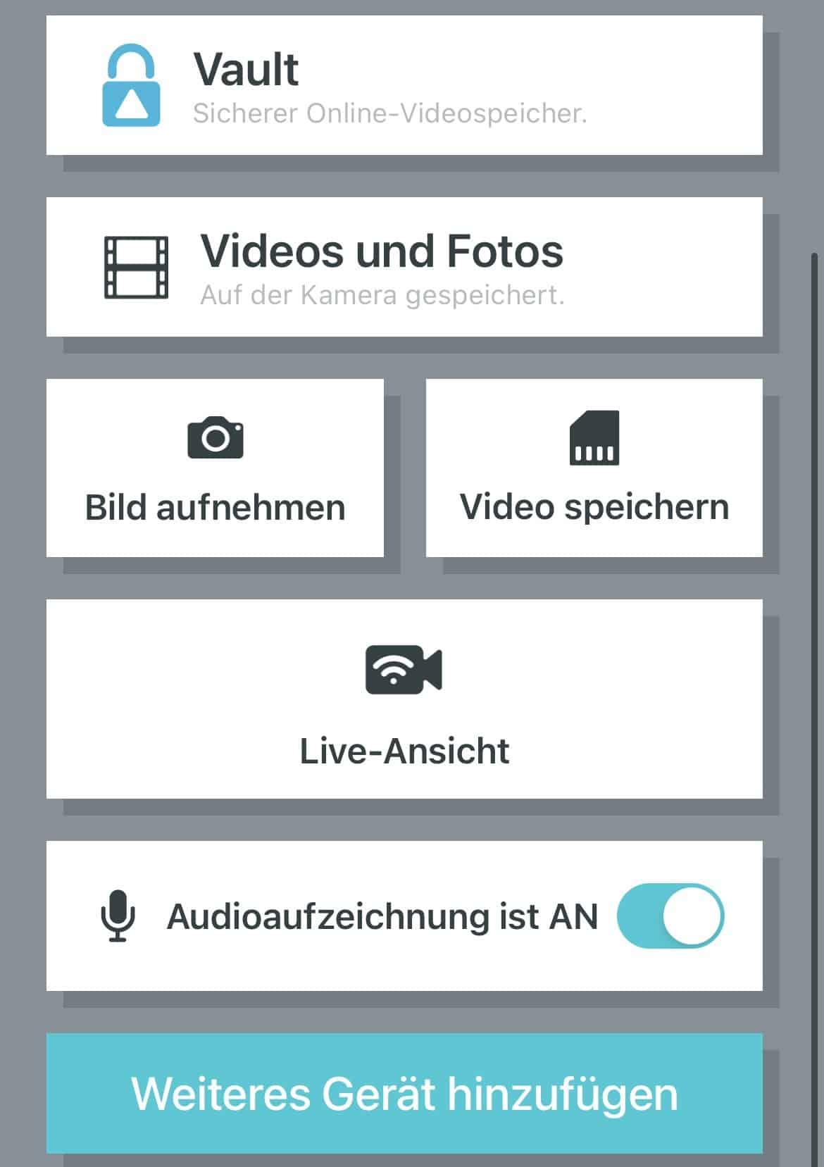Dashcam-Garmin-Mini-2-Software-Hauptmenü