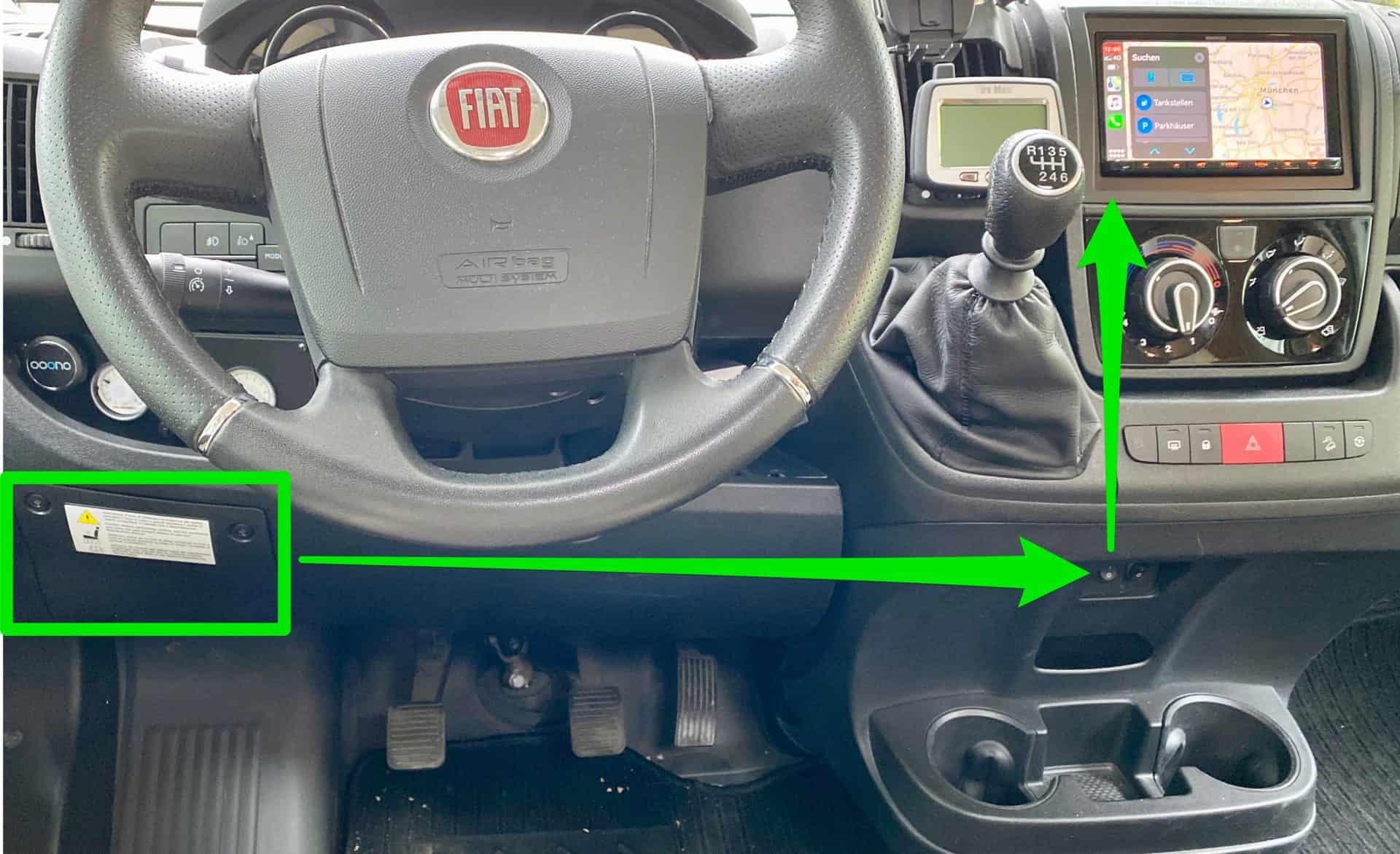 Dauerplus_Radio_Auto_Wohnmobil_Schalter_zum_Einbau_Kabel_vom_Sicherungskasten_zum_Radio_beschriftet