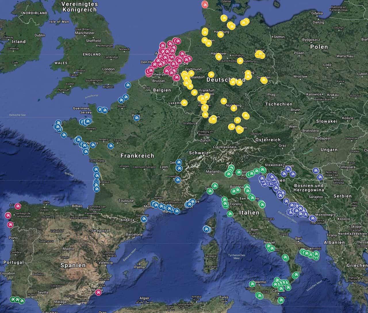 Die-besten-Strände-Sand-Deutschland-Niederland-Frankreich-Italien-Kroatien-Satellitenansicht