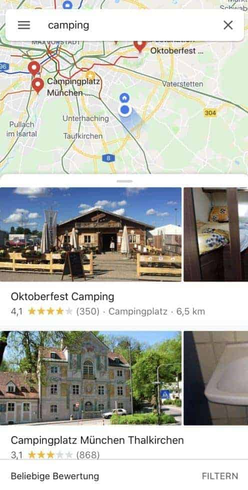 GoogleMaps Camping