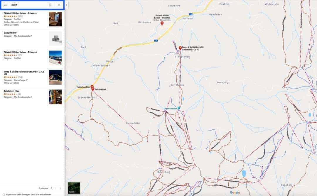 GoogleMaps Skigebiet