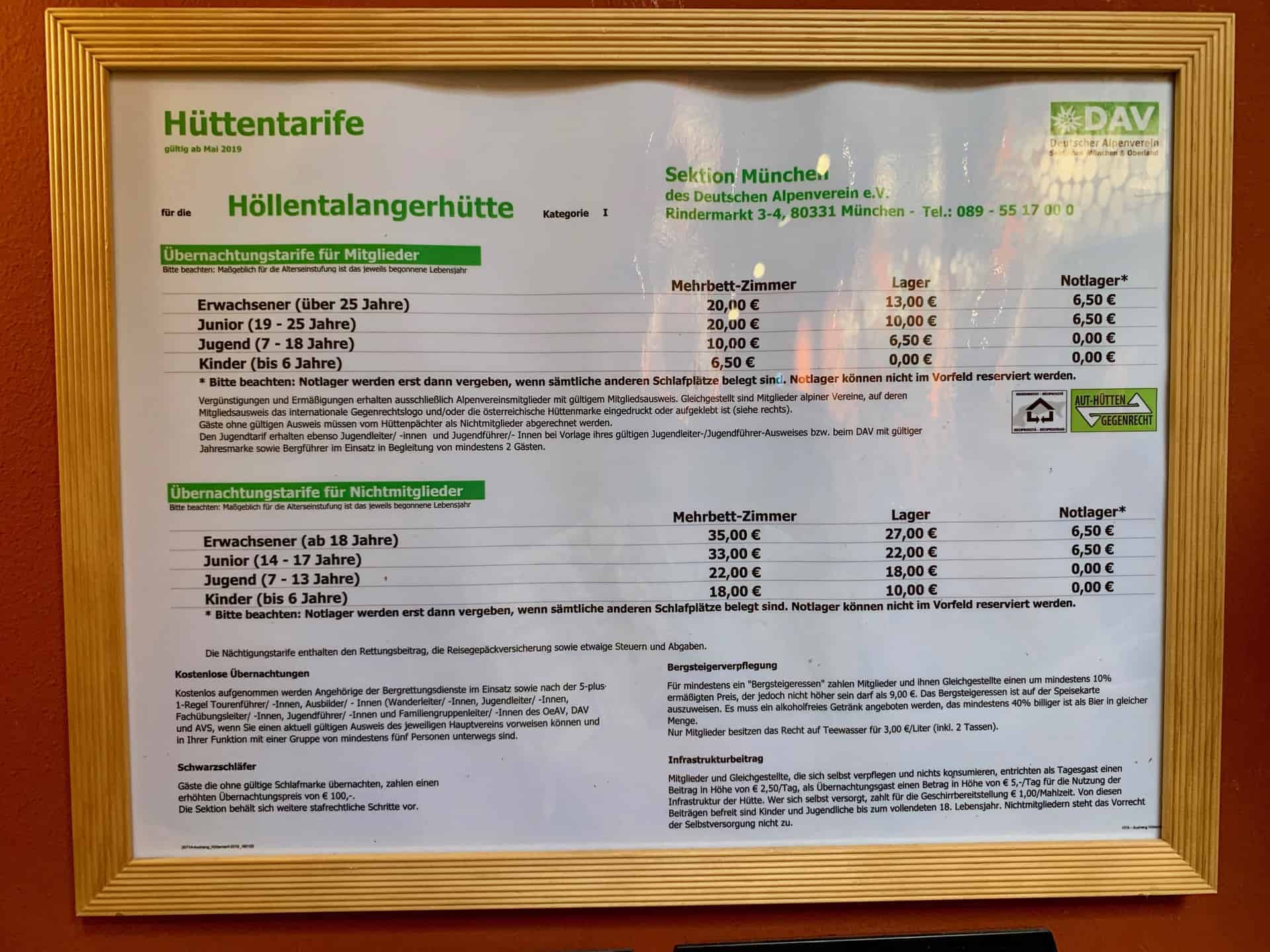 Höllentalklamm_Höllentalkangerhütte_Preisliste_Übernachtungen