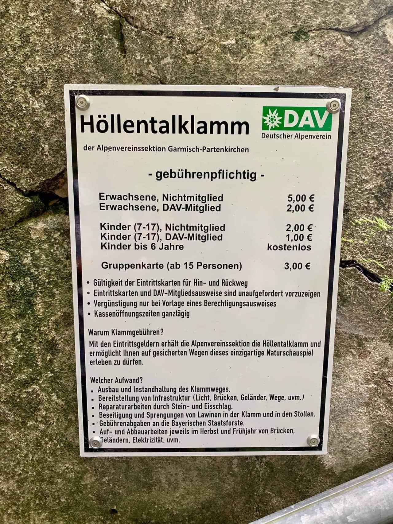 Höllentalklamm_Preisliste_DAV