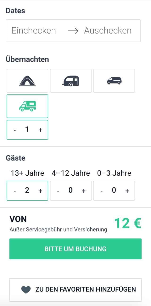Homecamper-Buchung-Datum-Auswahl-Fahrzeug-Gäste-Preis-Buchung