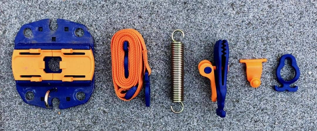 PeggyPeg FixGo Ankerplatte Sturmband TieStrap Spirale Zugentlastung Krokodilklemme T Connector Hakensystem