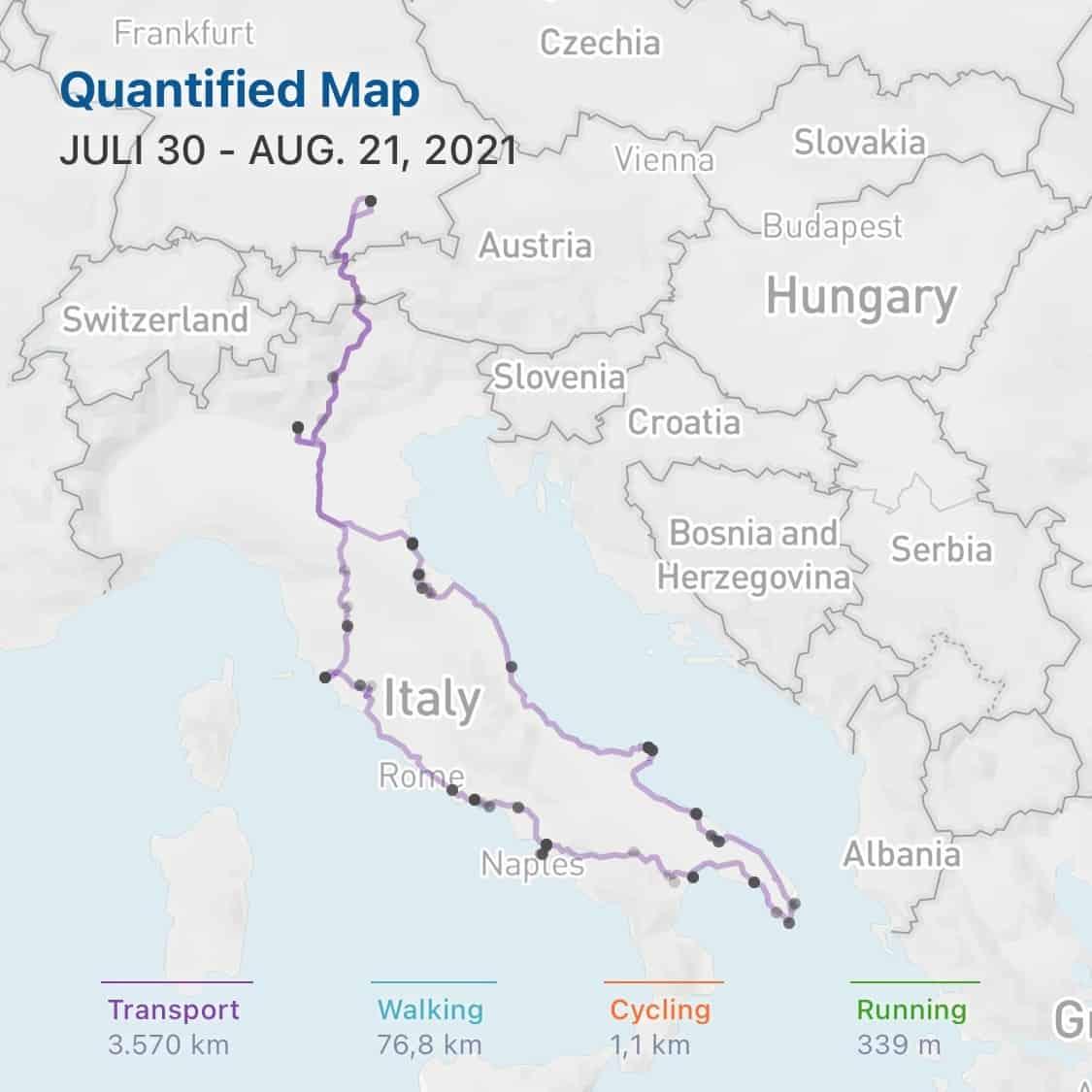 Quantified-Nord-Sued-West-Ost-Italien-Juli-August-2021