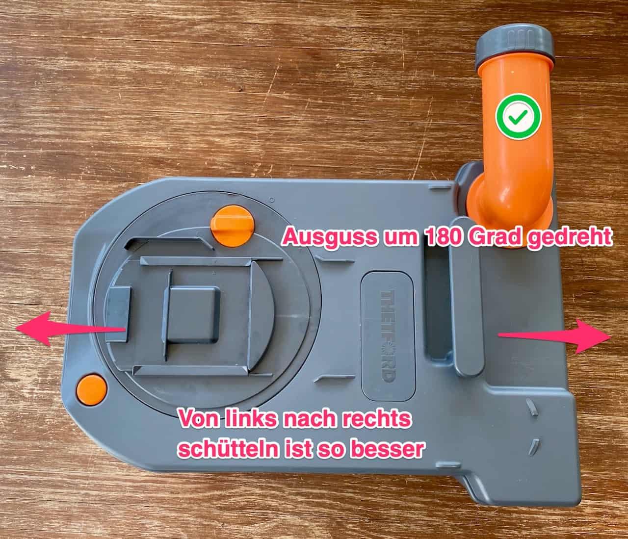 Thetford-Toilettenkassette-C250-stinkt-und-riecht-Lösung-Ausguss-180-Grad
