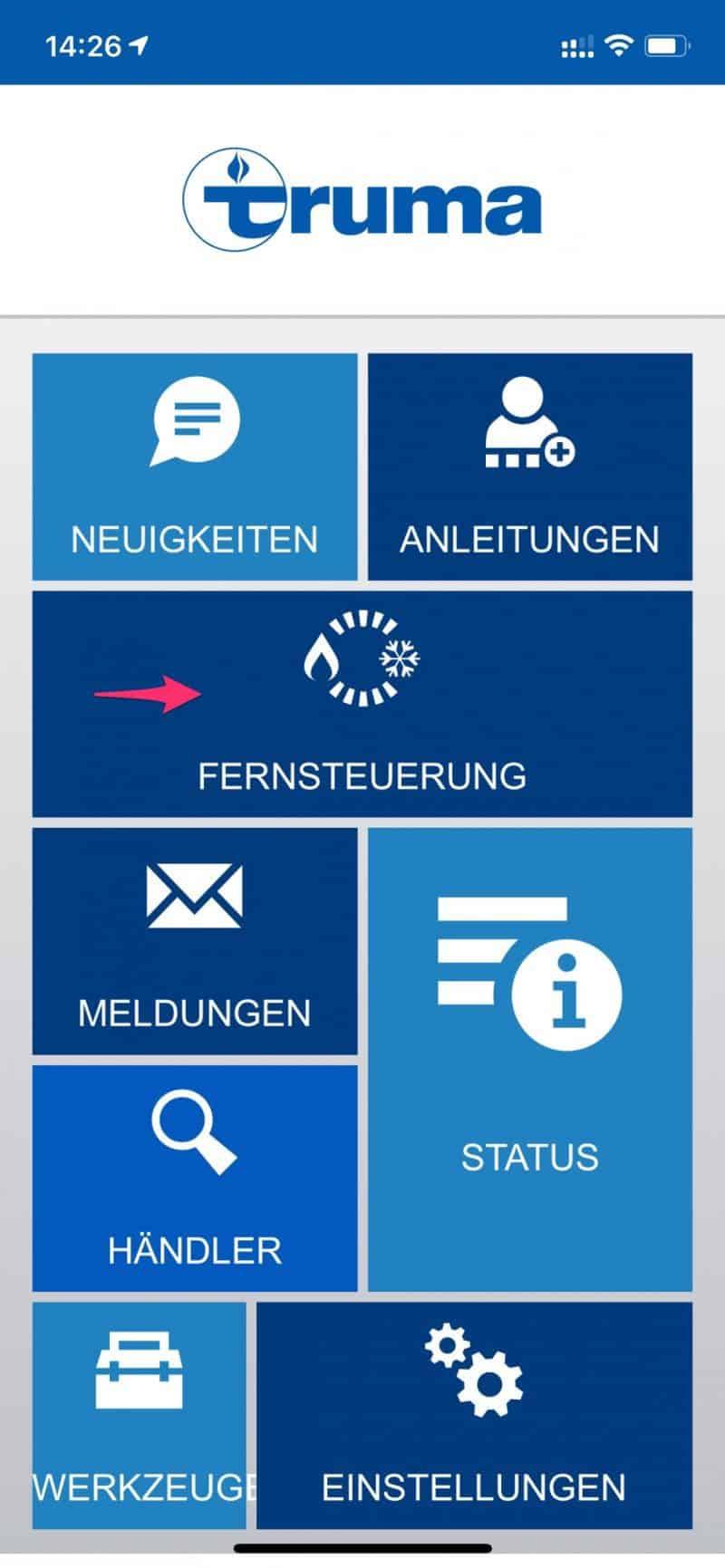 Truma-App-Fernsteuerung