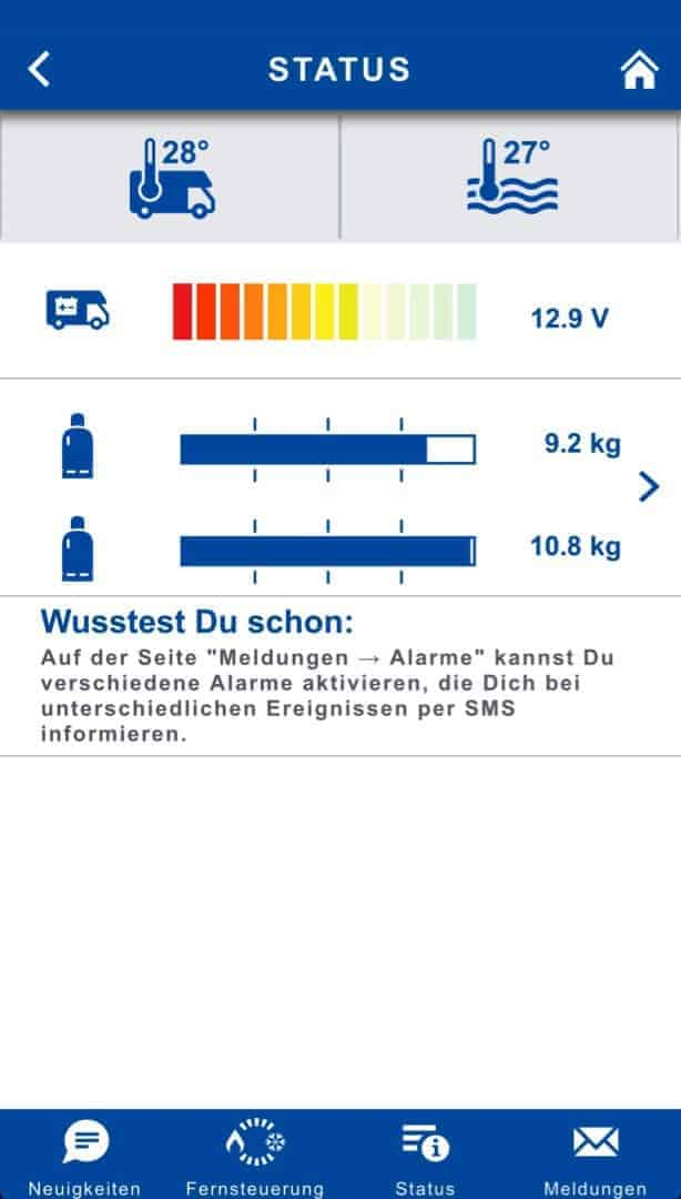 Truma Inet Box Software Flascheninhalt