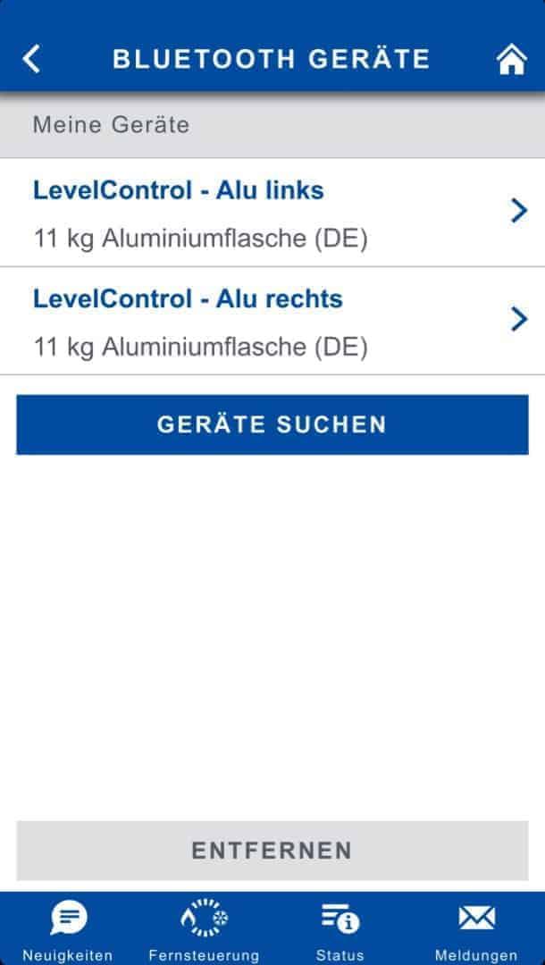 Truma iNet Box Software Levelcontrol Flaschenauswahl