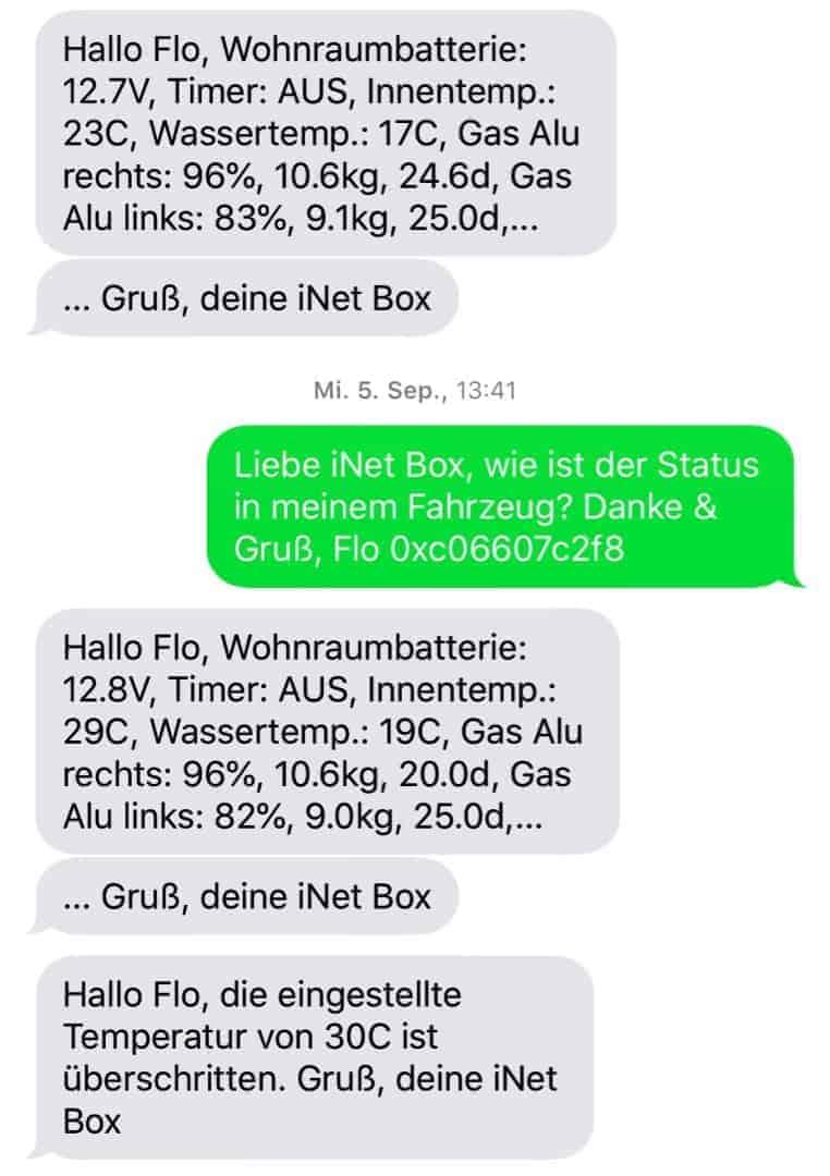 Truma iNet Box Software SMS