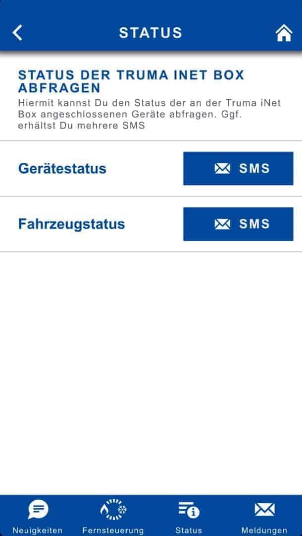 Truma iNet Box Software SMS Status