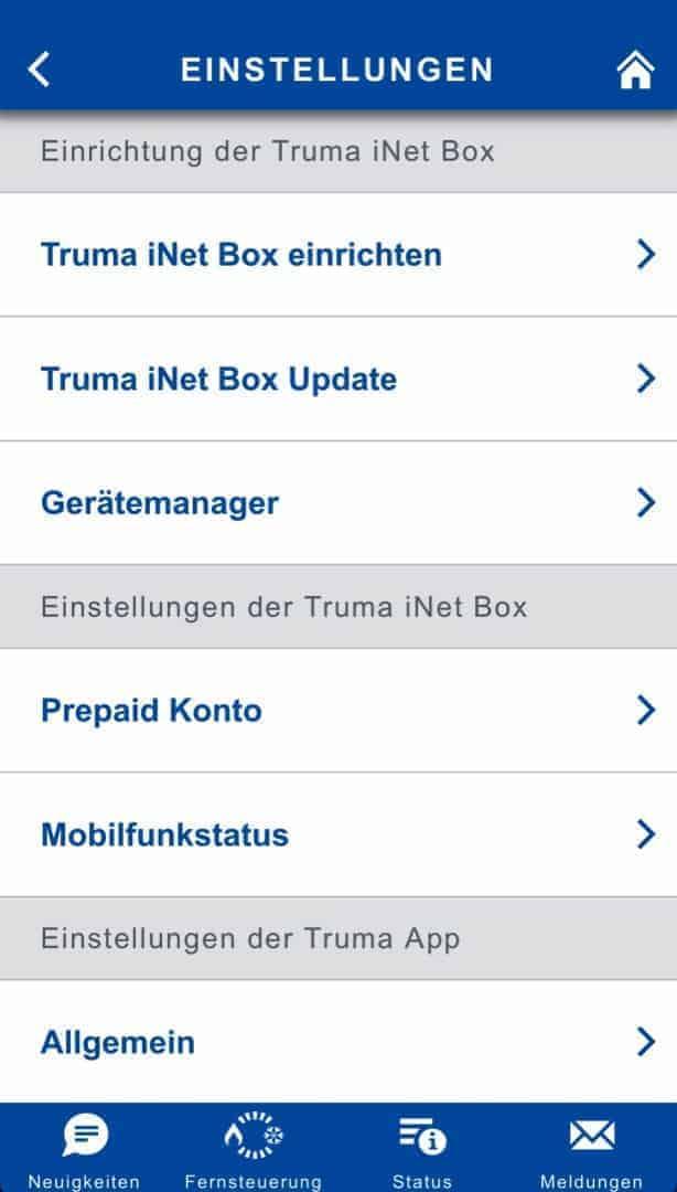 Truma iNet Box Software überscht
