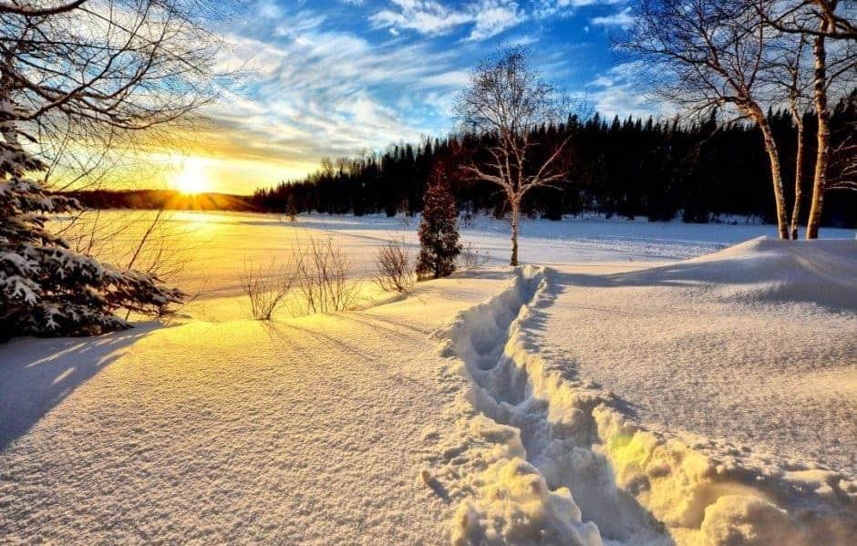 Winter Landschaft Sonnenuntergang