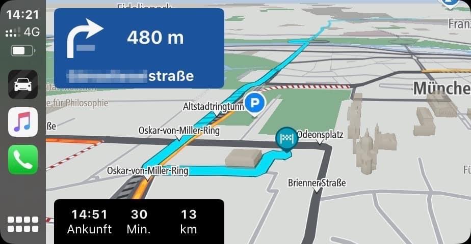 iOS_App_Navigation_TomTom_Go_Teststrecke
