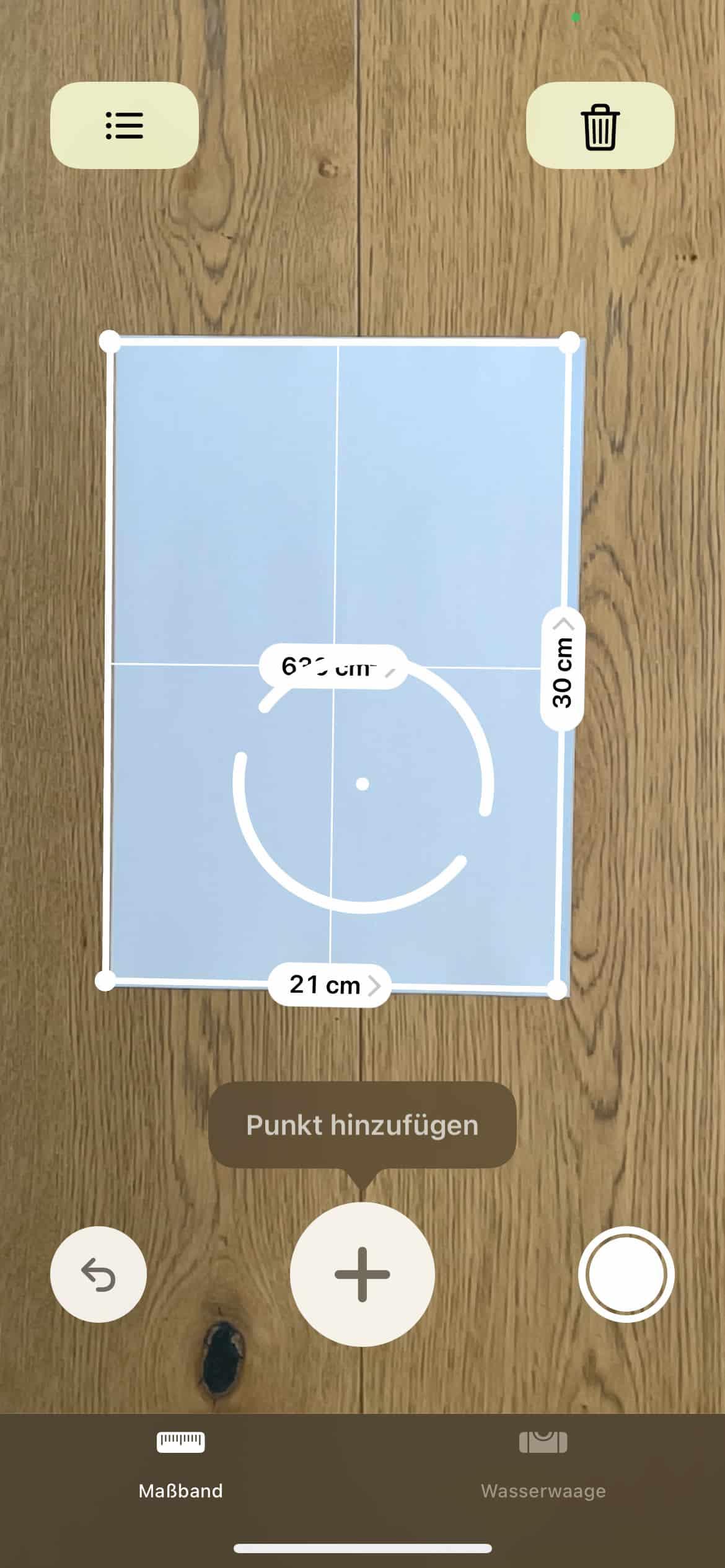 iPhone12Pro-Fotos-Lidar-Sensor-mit-einem-DINA4-Blatt